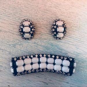 Jewelry - Vintage 70s Black & White Bracelet & Earrings Set